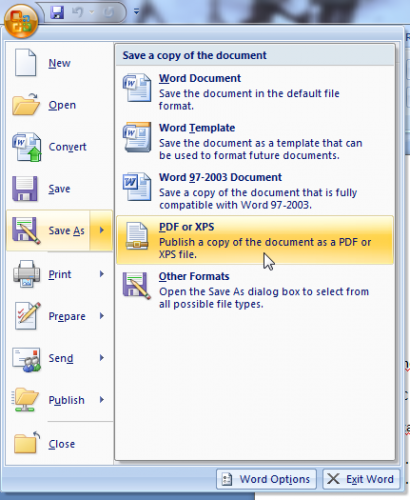 save as word 2007 ke pdf