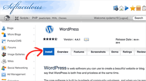 install blog wordpress