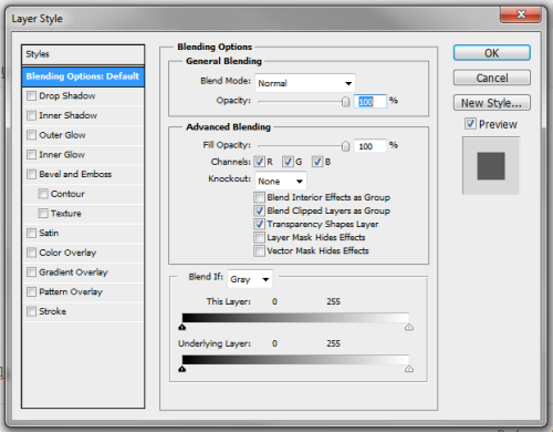 dialog blending options