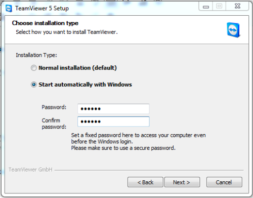 setup teamviewer windows start
